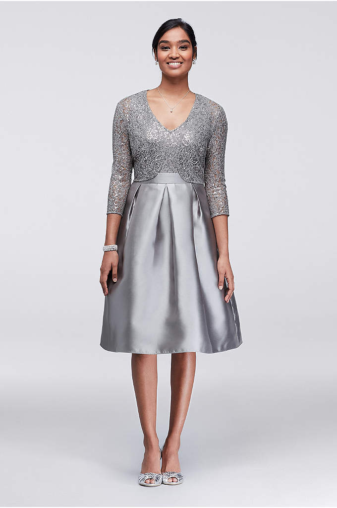 Sequin and Mikado Knee-Length Dress with Jacket - A sequined bodice and matching bolero jacket lend