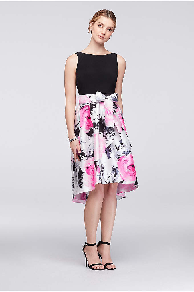 Jersey and Printed Mikado Short High-Low Dress - The full, floral-printed mikado skirt of this jersey-bodice