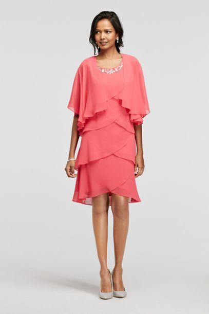 Tiered Chiffon Jacket Dress with Beaded Neckline - Davids Bridal