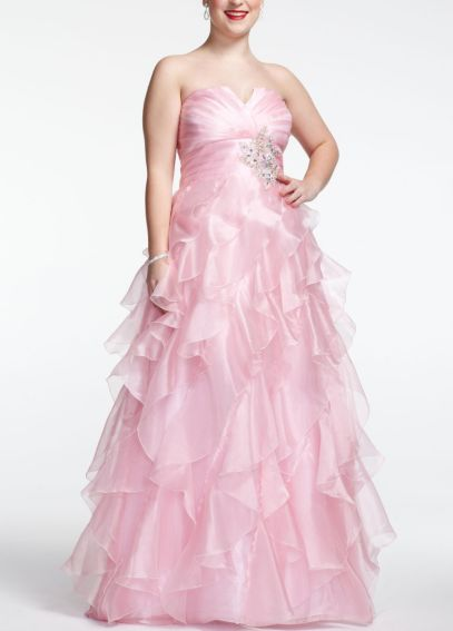 Strapless Organza Prom Ball Gown with Ruffles 11548W