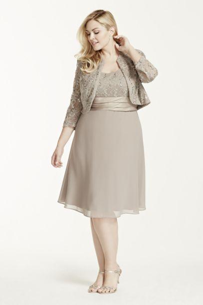 3/4 Sleeve Lace Jacket Dress with Chiffon Skirt - Davids Bridal