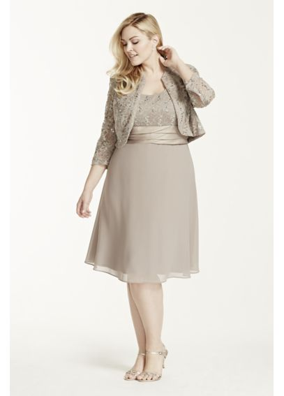 3/4 Sleeve Lace Jacket Dress with Chiffon Skirt 1155W