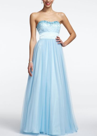 Strapless Tulle Prom Ball Gown with Beaded Bust 11561