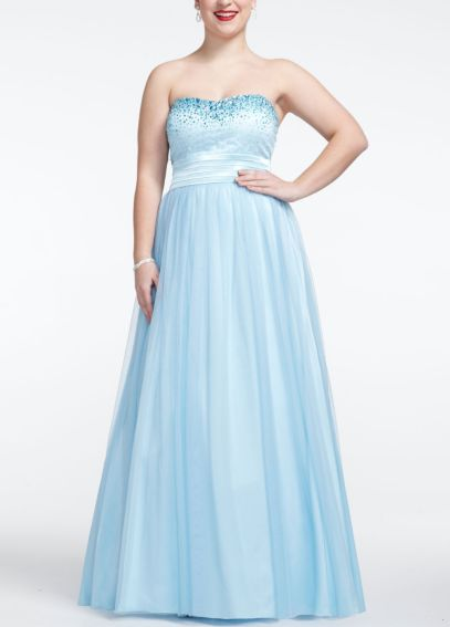 Strapless Tulle Prom Ball Gown with Beaded Bust 11561W