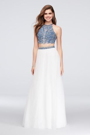 Beaded Denim and Tulle Two-Piece Dress - Can't break your denim habit? You don't have