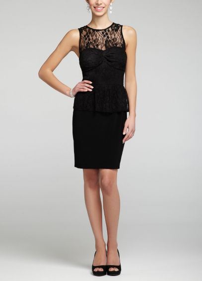 Sleeveless Lace and Peplum Jersey Dress 11624