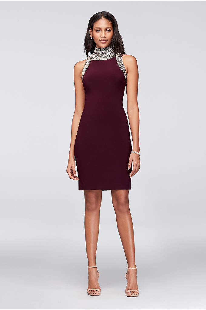 Beaded Mock-Neck Jersey Mini Dress - Intense crystal beading at the neckline and shoulders
