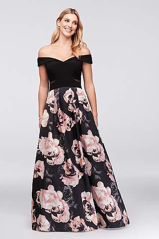 Vestido Floral Con Hombros Descubiertos de Jersey y Satín
