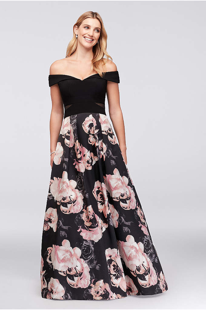 Off-the-Shoulder Floral Jersey and Satin Ball Gown - The illusion cutouts on the matte jersey bodice