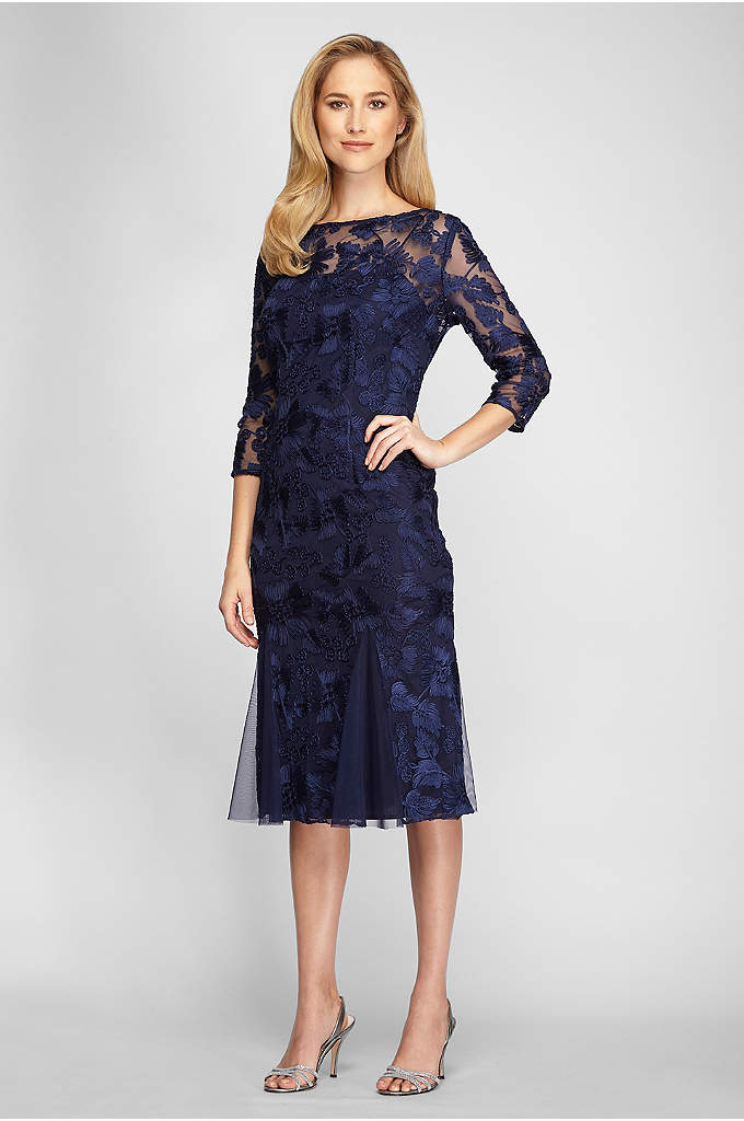 Illusion Fit and Flare Embroidered Midi Dress - Godet insets give the hemline of this below-the-knee