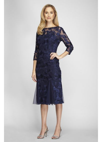 Tea Length Fit and Flare 3/4 Sleeves Cocktail and Party Dress - Alex Evenings