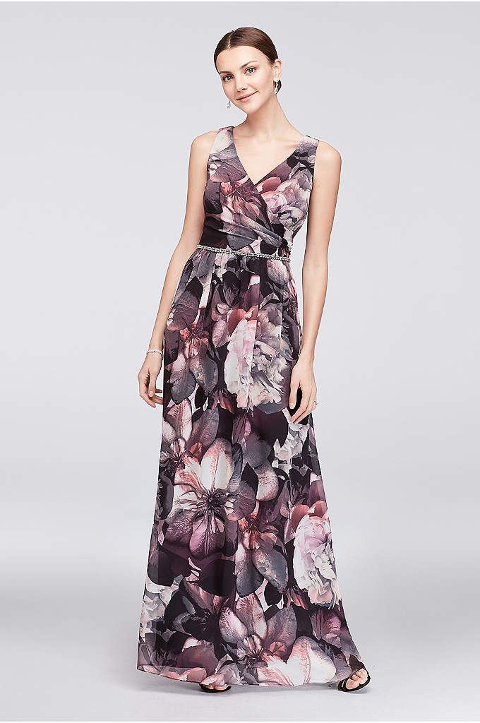 Floral Chiffon Surplice Gown with Beaded Waist - The drapey, surplice neckline of this flowing, floral