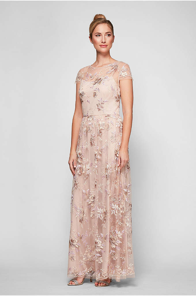 Embroidered Mesh Soft Sheath Gown with Cap Sleeves - Beautiful floral embroidery adds extra romance to this