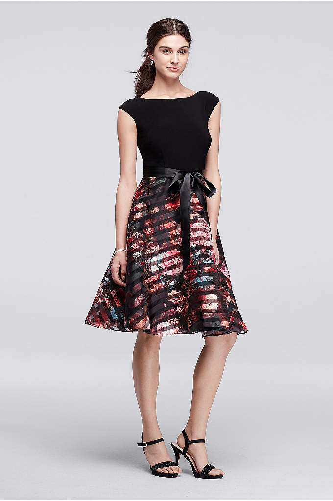 Short Dress with Floral Organza Skirt - Made for twirling, this short party dress features