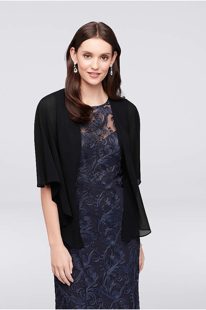 Convertible Chiffon Capelet - Button this flowy chiffon capelet in the front