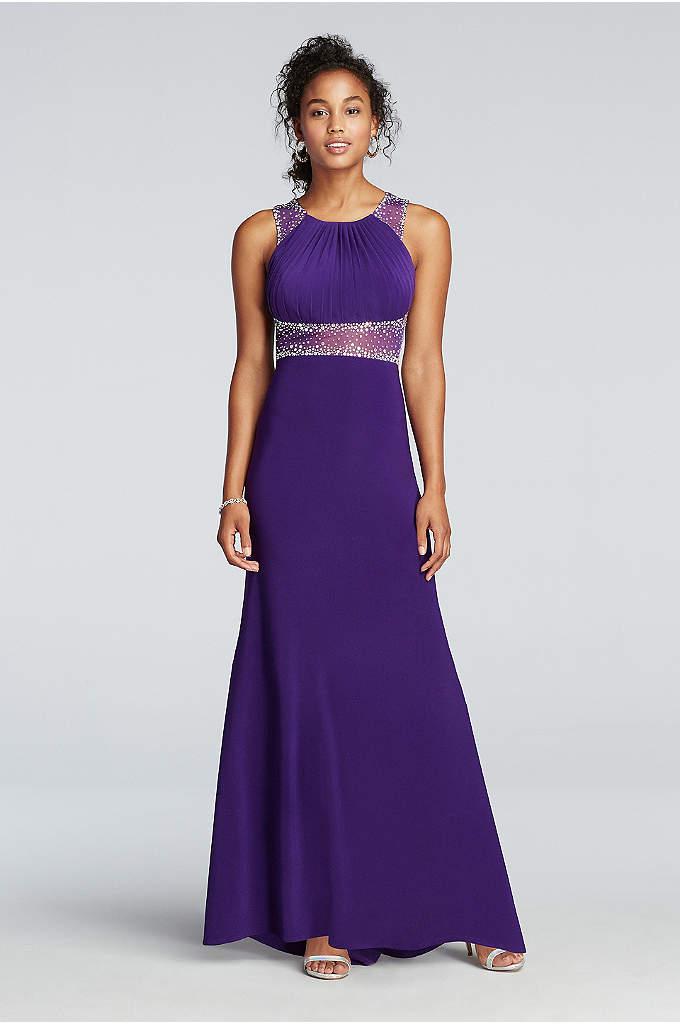 Beaded Illusion Floor Length Prom Dress