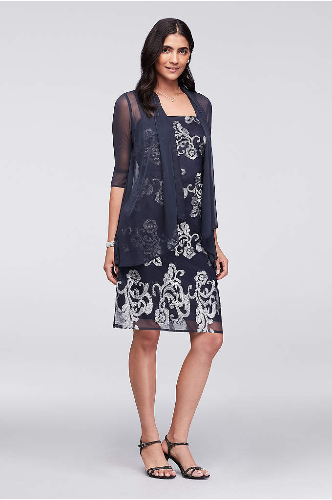 Metallic-Embroidered Shift Dress with Sheer Jacket - This knee-length shift dress is topped with a
