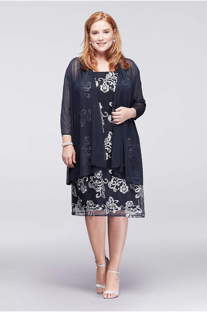 Metallic Embroidered Plus Size Jacket Dress - This knee-length plus-size shift dress is topped with