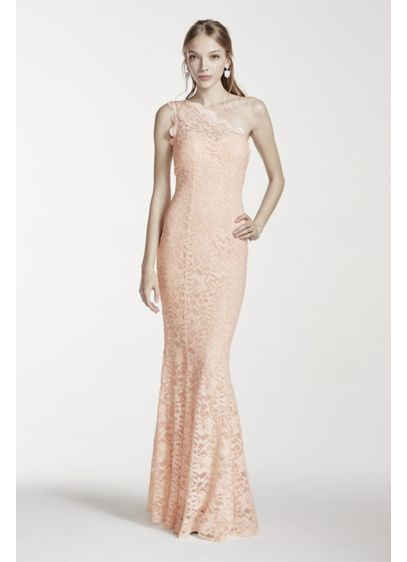 Long Pink Soft & Flowy Morgan and Co Bridesmaid Dress