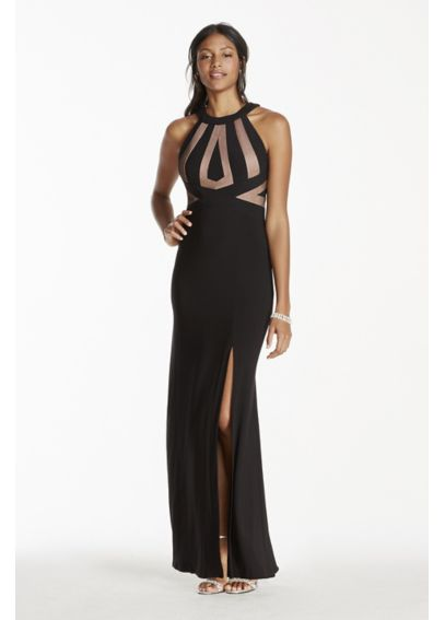 Halter Jersey Dress with Open Back 12013