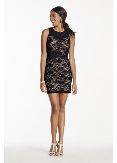 Sequin Lace Short Dress with Self-Tie Open Back 12034