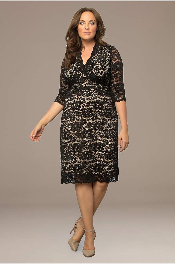 Scalloped Boudoir Lace Plus Size Cocktail Dress
