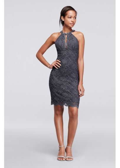 Short Lace Dress with Beaded Halter Neckline 12099