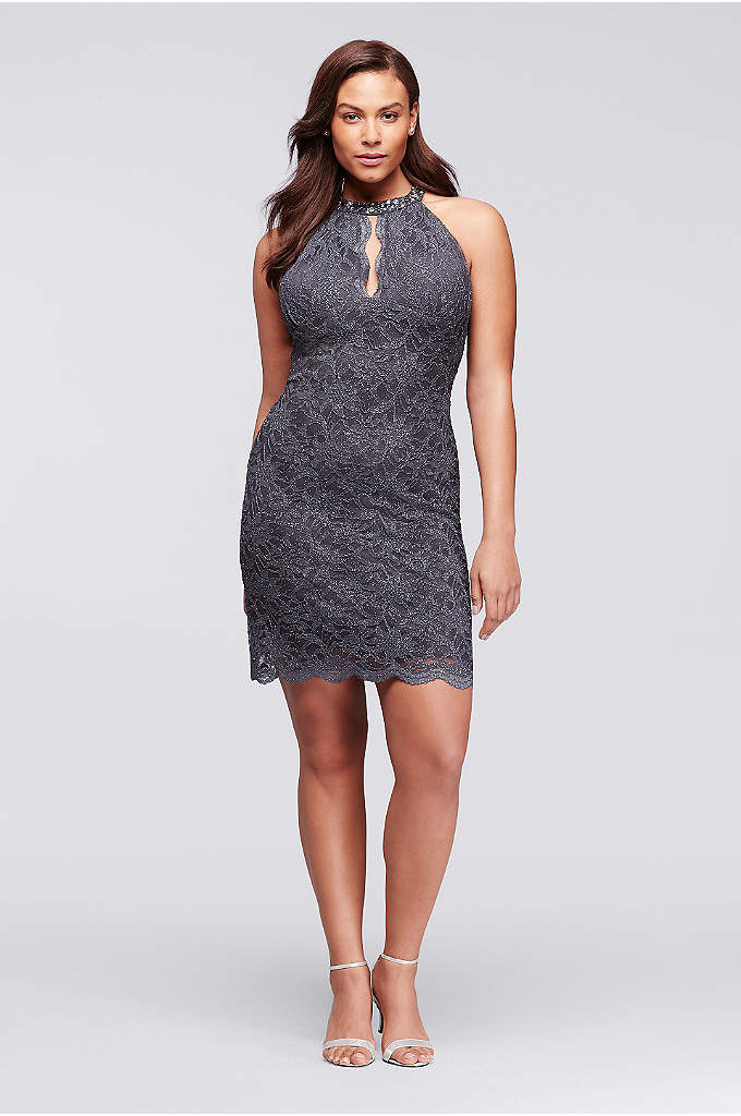 Short Lace Plus Size Dress with Halter Neckline - Take center stage in this curve-hugging short glitter