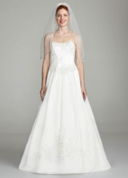 Strapless Satin Ball Gown with Beaded Lace Bodice 1210691