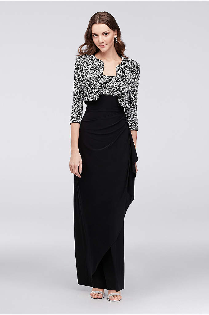 Textural Print Tank Sheath Dress and Jacket