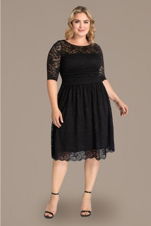 Lace plus size dress with sleeves