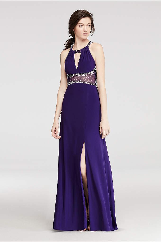 Halter Prom Dress with Beaded Illusion Waist