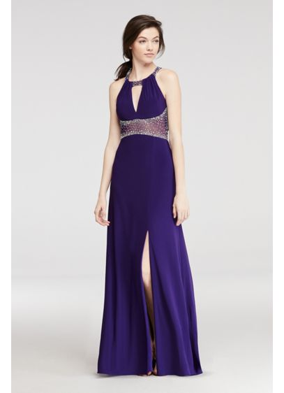 Long A-Line Halter Prom Dress - Morgan and Co