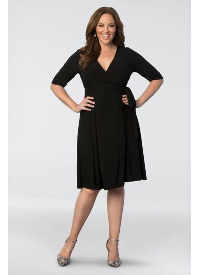 Tea Length A-Line Elbow Sleeves Cocktail and Party Dress - Kiyonna