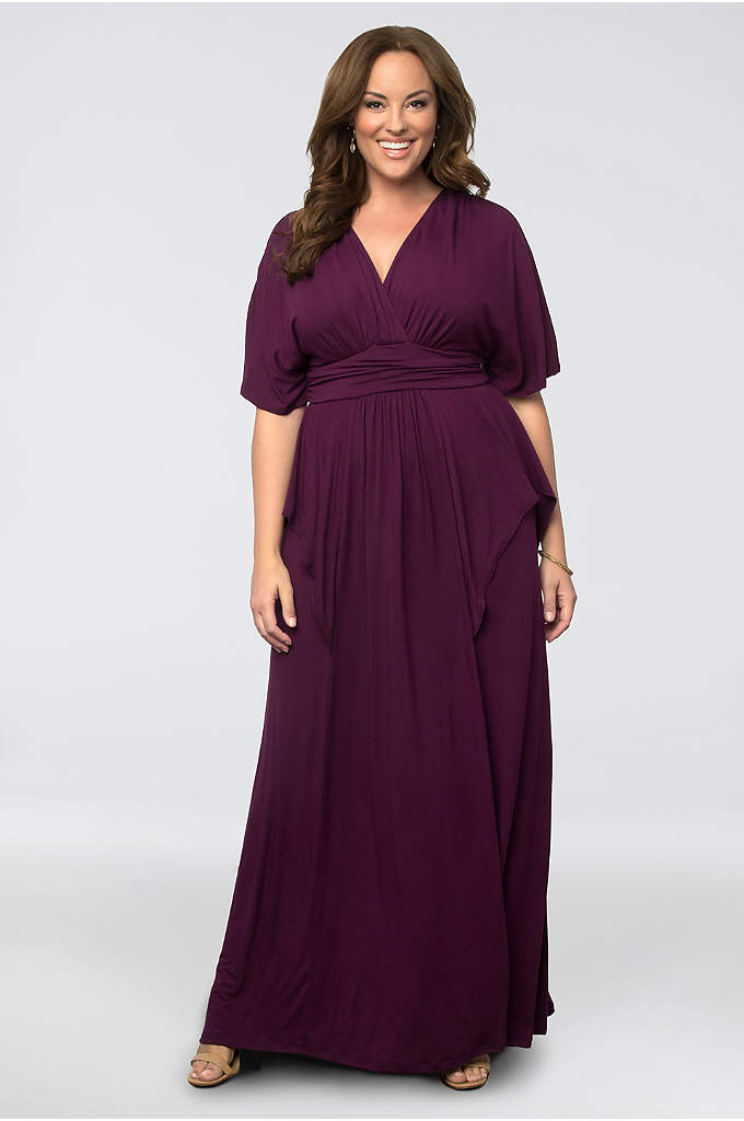 Indie Flair Plus Size Maxi Dress - Boho and breezy, this flowing jersey maxi dress