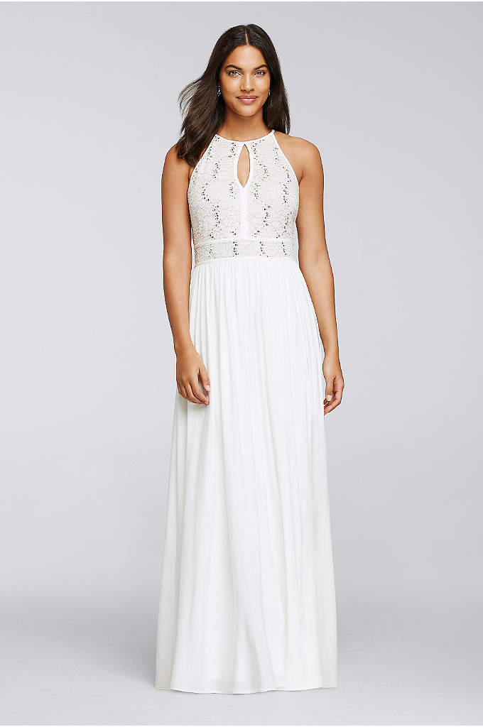 Long Halter Dress with Glitter Lace Bodice - A breezy tie-back keyhole mirrors the front of