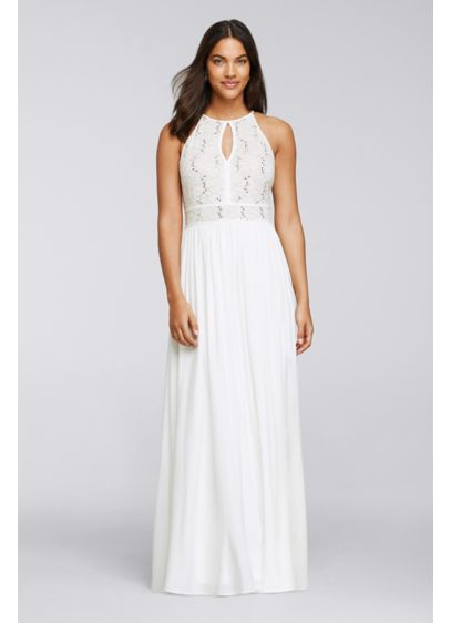 Long Ivory Soft & Flowy Morgan and Co Bridesmaid Dress