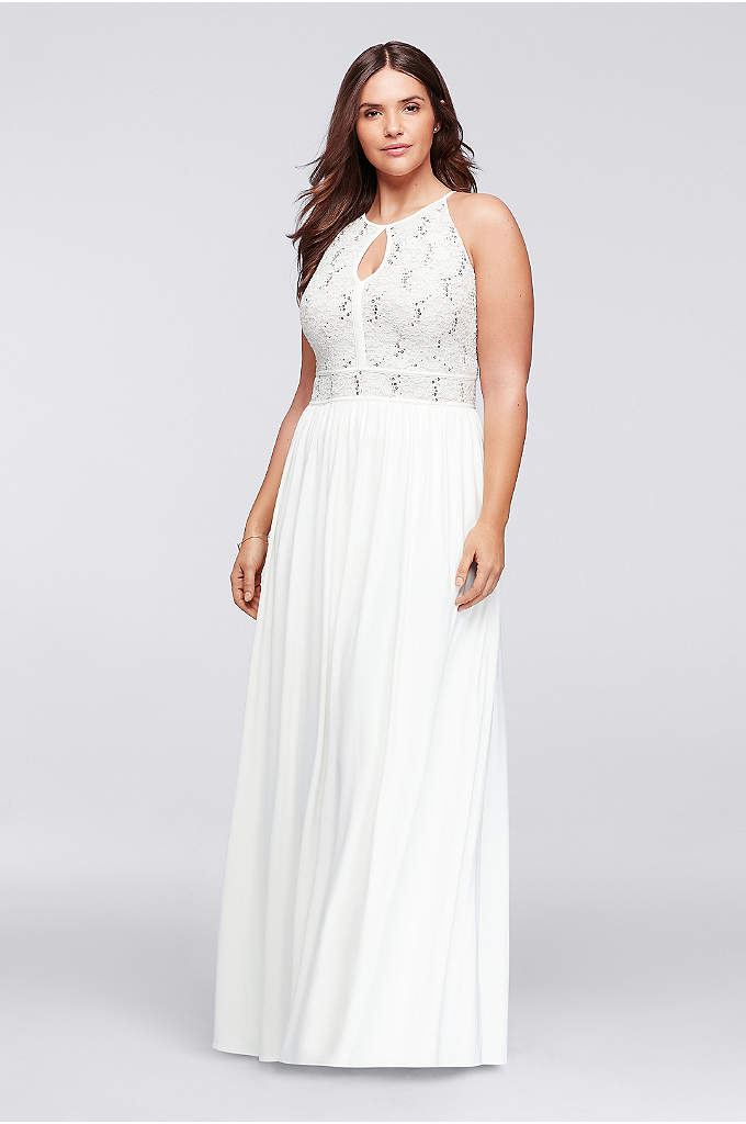 Halter Plus Size Dress with Glitter Lace Bodice - A breezy tie-back keyhole mirrors the front of