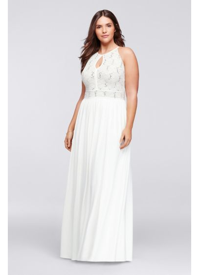 Halter plus size dress with glitter lace bodice davids for Plus size flowy wedding dresses