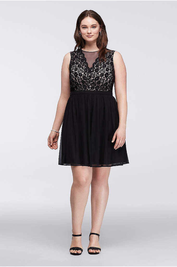 Short Plus Size Dress with Illusion Lace Neckline