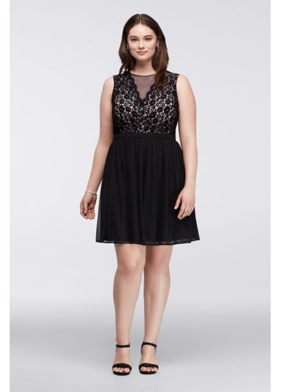 Short Plus Size Dress with Illusion Lace Neckline 12264W