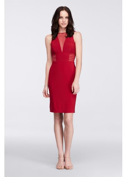 Short Dress with Illusion Neckline and Banding 12272