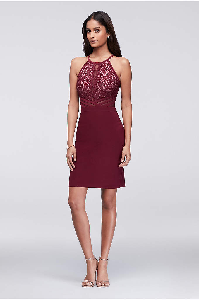 Jersey Halter Cocktail Dress with Illusion Back - A modern take on lace and illusion, this