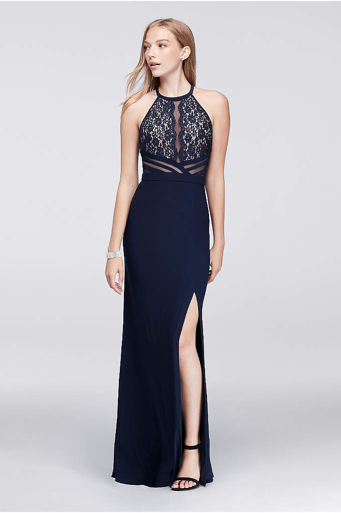 Jersey Halter Dress with Sheer Mesh Back - A modern take on lace and illusion, this