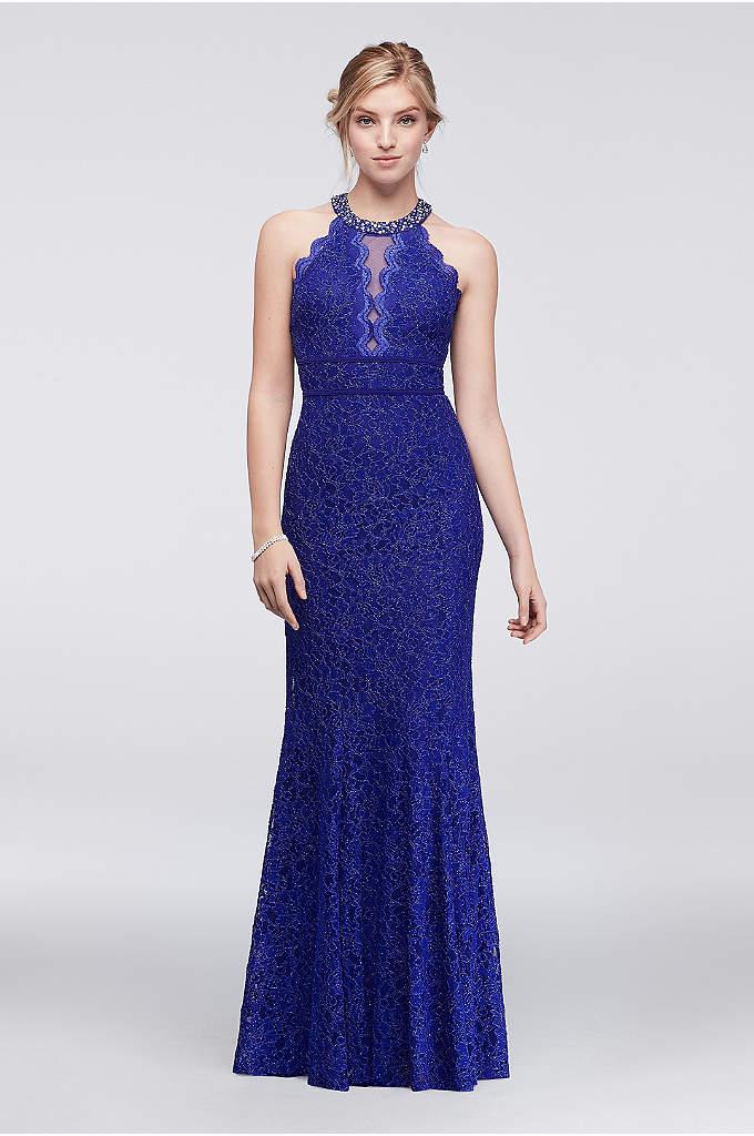 Glitter Lace Mermaid Dress with Illusion Keyhole