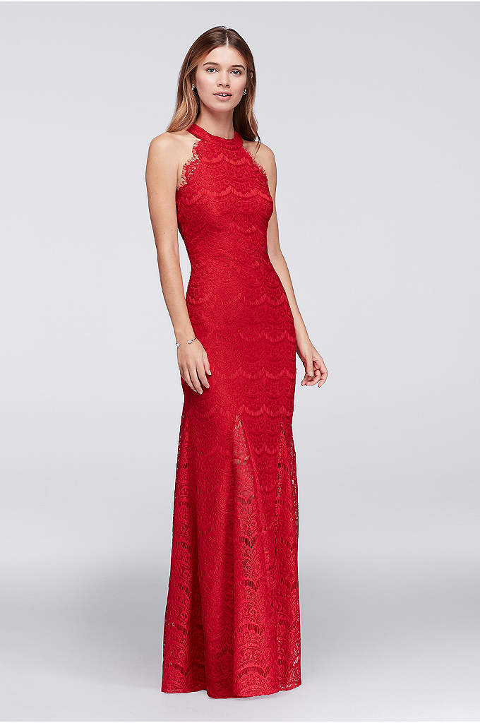 Lace Sheath Halter Long Dress with Scallops - This long lace column dress is edged with
