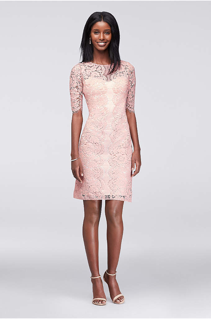 Illusion Lace Sheath Dress with Scalloped Sleeves - The picture of elegance, this slim sheath dress