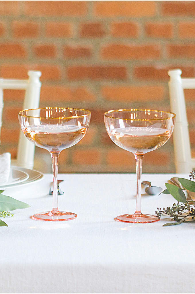 Personalized Gilded Rim Blush Toasting Coupe Set - The perfect finishing touch for your wedding day,