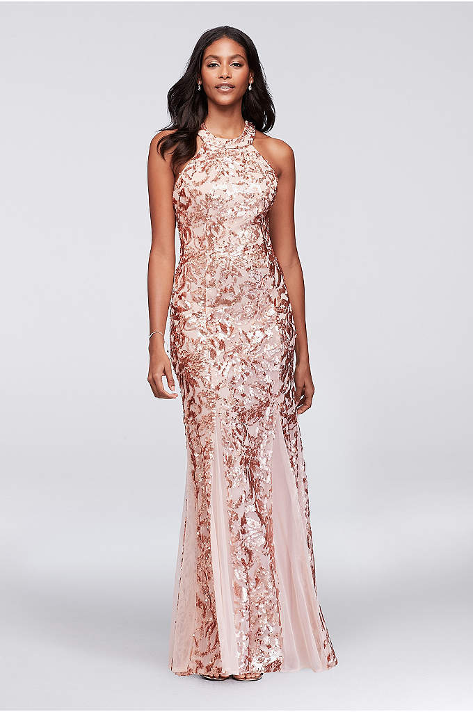 Glitter Lace and Jersey High-Neck A-Line Gown - Glittering gold scalloped lace laid over a black