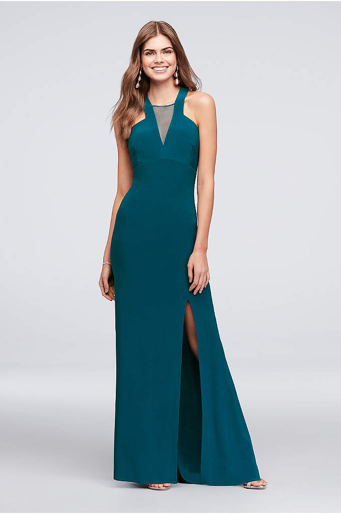 Plunging Illusion-Inset Jersey Sheath Gown - Ace the geometry of dressing up with this